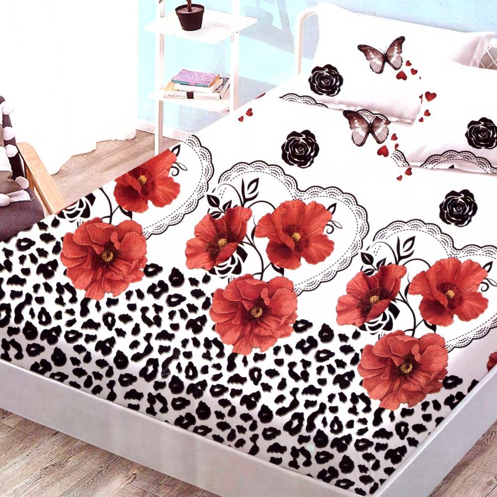 husa de pat finet cu elastic cu flori rosii