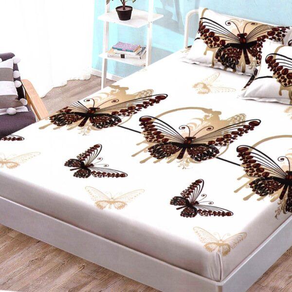 husa de pat finet cu elastic cu fluturi