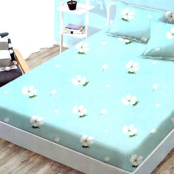husa de pat finet cu elastic turcoaz