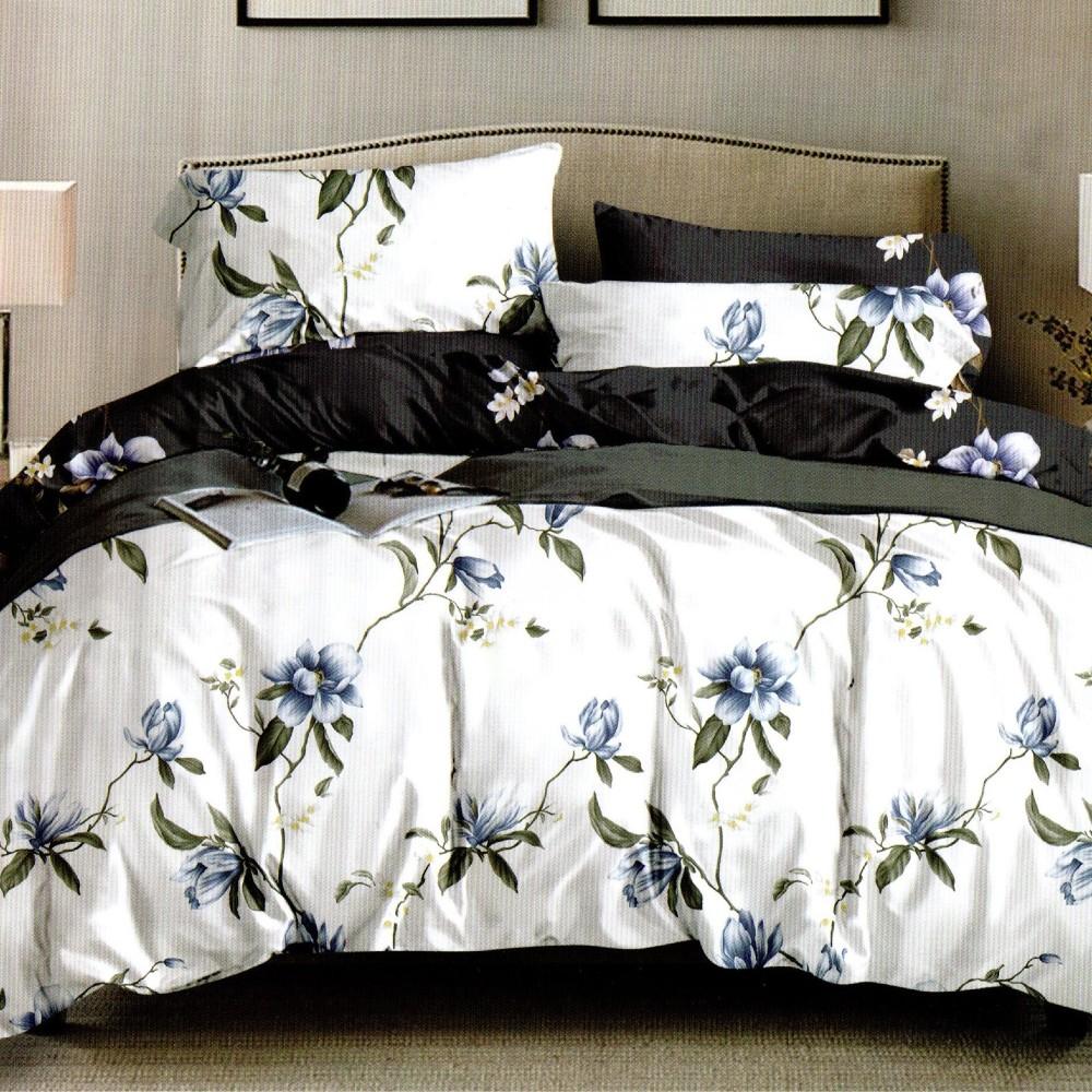 lenjerie de pat 1 persoana alba cu 2 fete si flori
