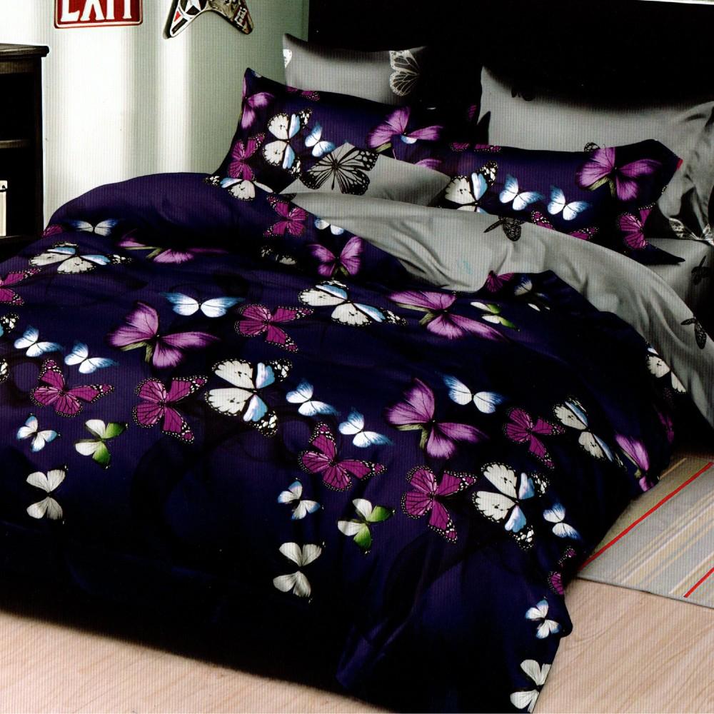 lenjerie de pat 1 persoana bleumarin cu fluturi mov