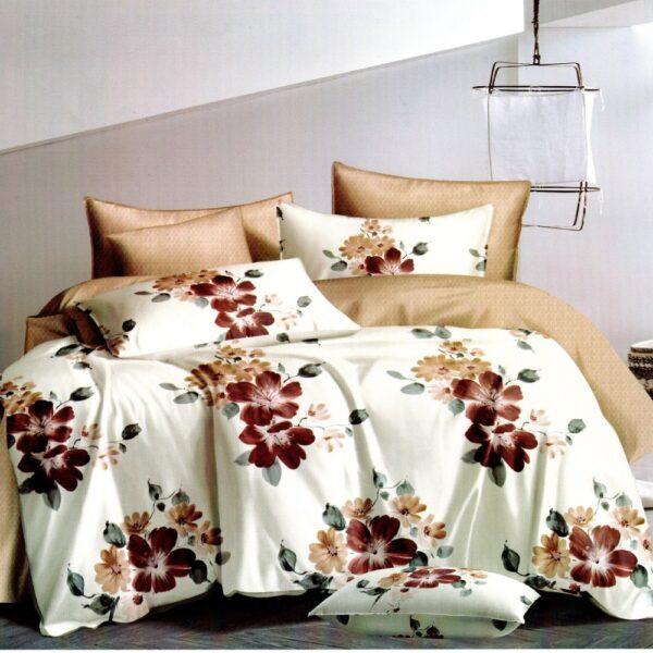 lenjerie de pat 1 persoana crem cu flori 2 fete