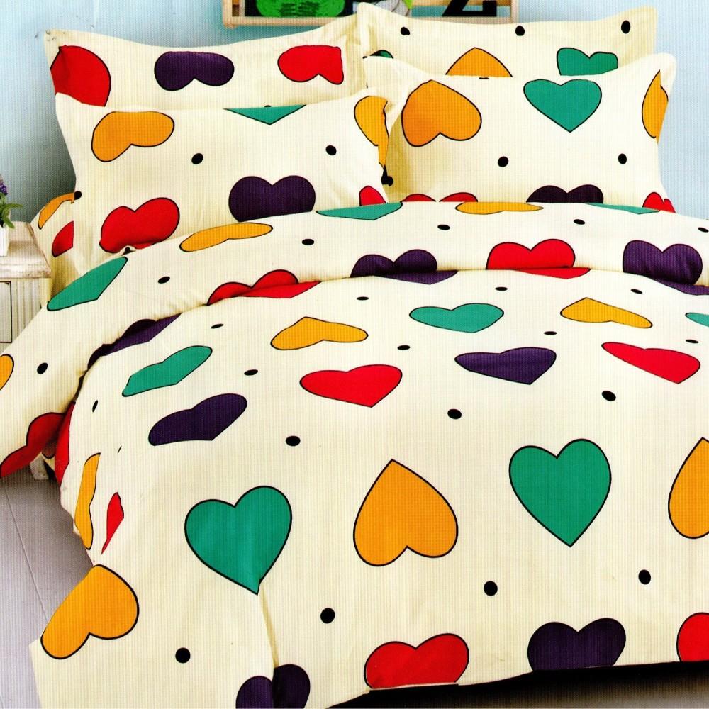 lenjerie de pat 1 persoana crem cu inimioare colorate