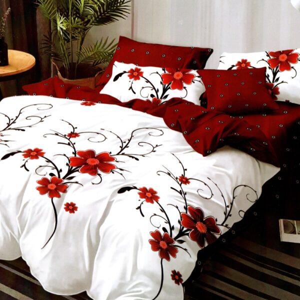 lenjerie de pat 1 persoana cu 2 fete alba cu flori rosii