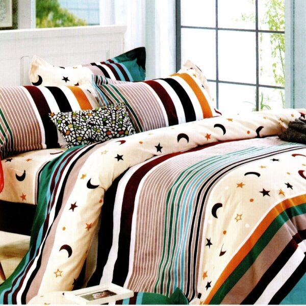lenjerie de pat 1 persoana cu dungi multicolore