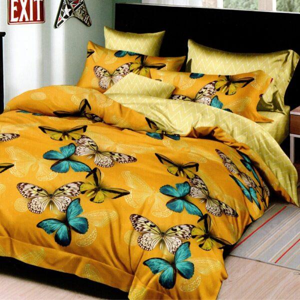 lenjerie de pat 1 persoana galbena cu fluturi