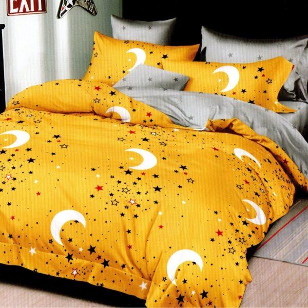 lenjerie de pat 1 persoana galbena cu stelute si luna