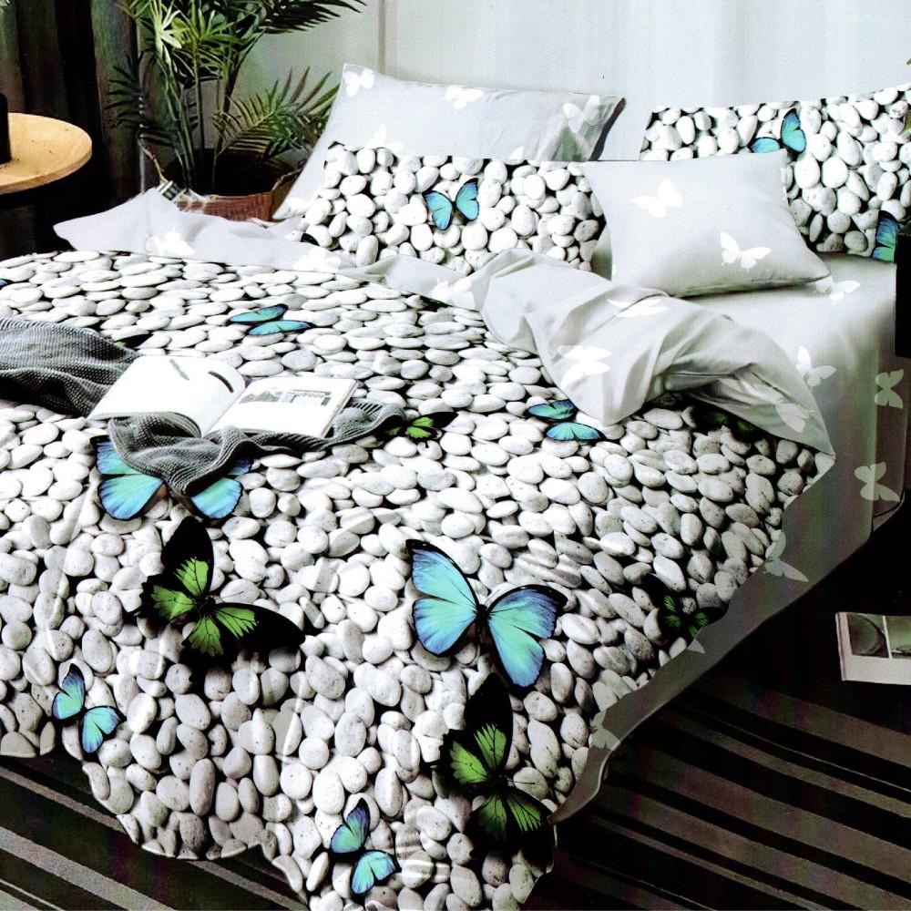 lenjerie de pat 1 persoana gri cu pietre si fluturi