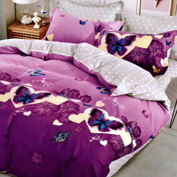 lenjerie de pat 1 persoana mov cu 2 fete si fluturi