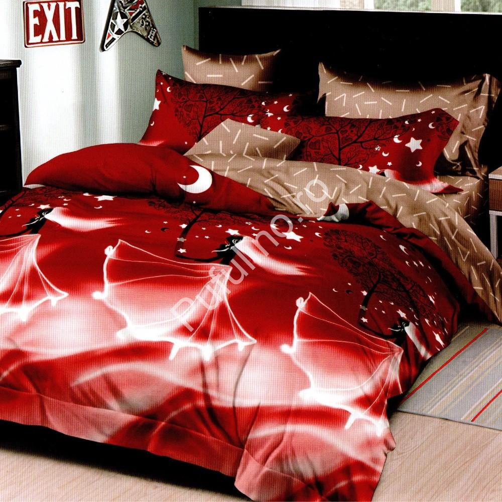 lenjerie de pat 1 persoana rosie cu printese