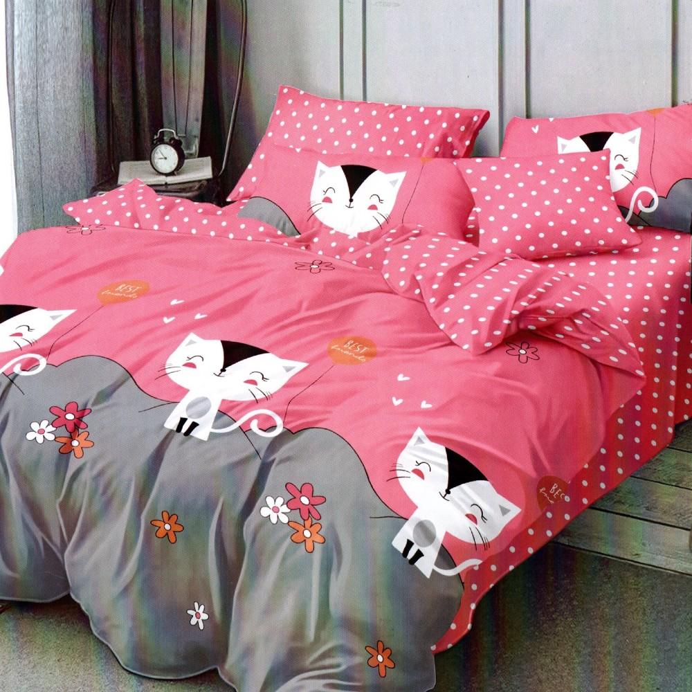 lenjerie de pat 1 persoana roz cu pisicute
