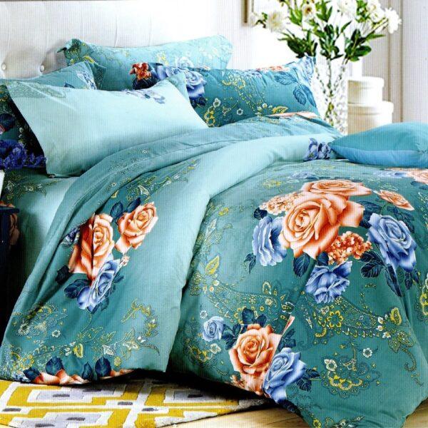lenjerie de pat 1 persoana turcoaz cu flori