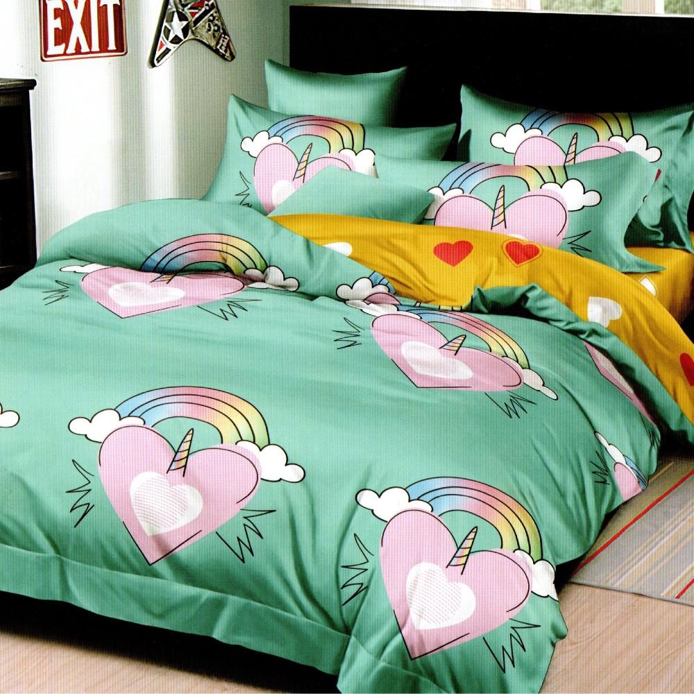 lenjerie de pat 1 persoana verde cu 2 fete si inimioare curcubeu