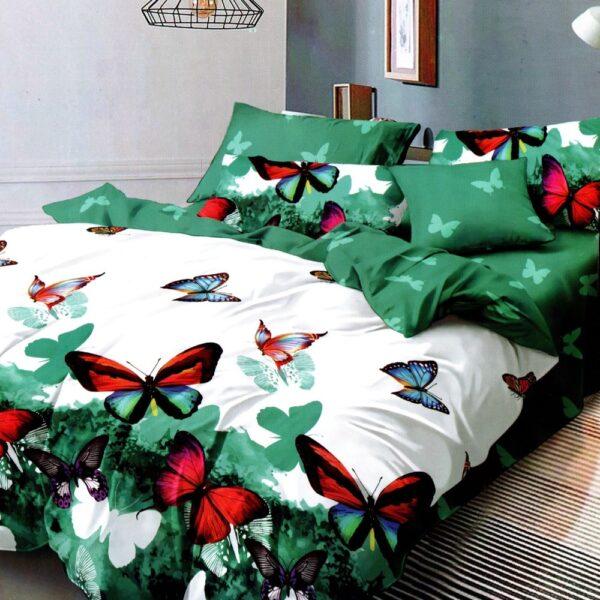 lenjerie de pat 1 persoana verde cu fluturi colorati