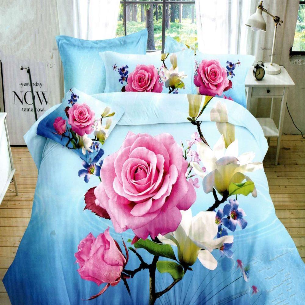 lenjerie de pat bumbac satinat cu flori model 5d
