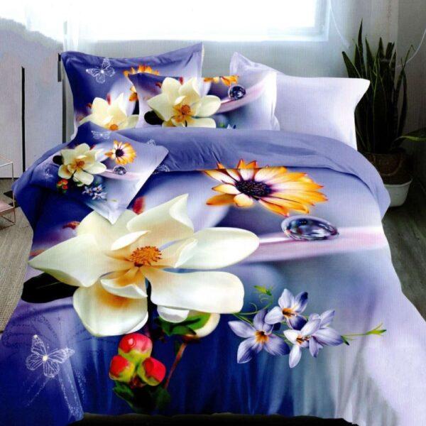 lenjerie de pat bumbac satinat mov cu flori albe