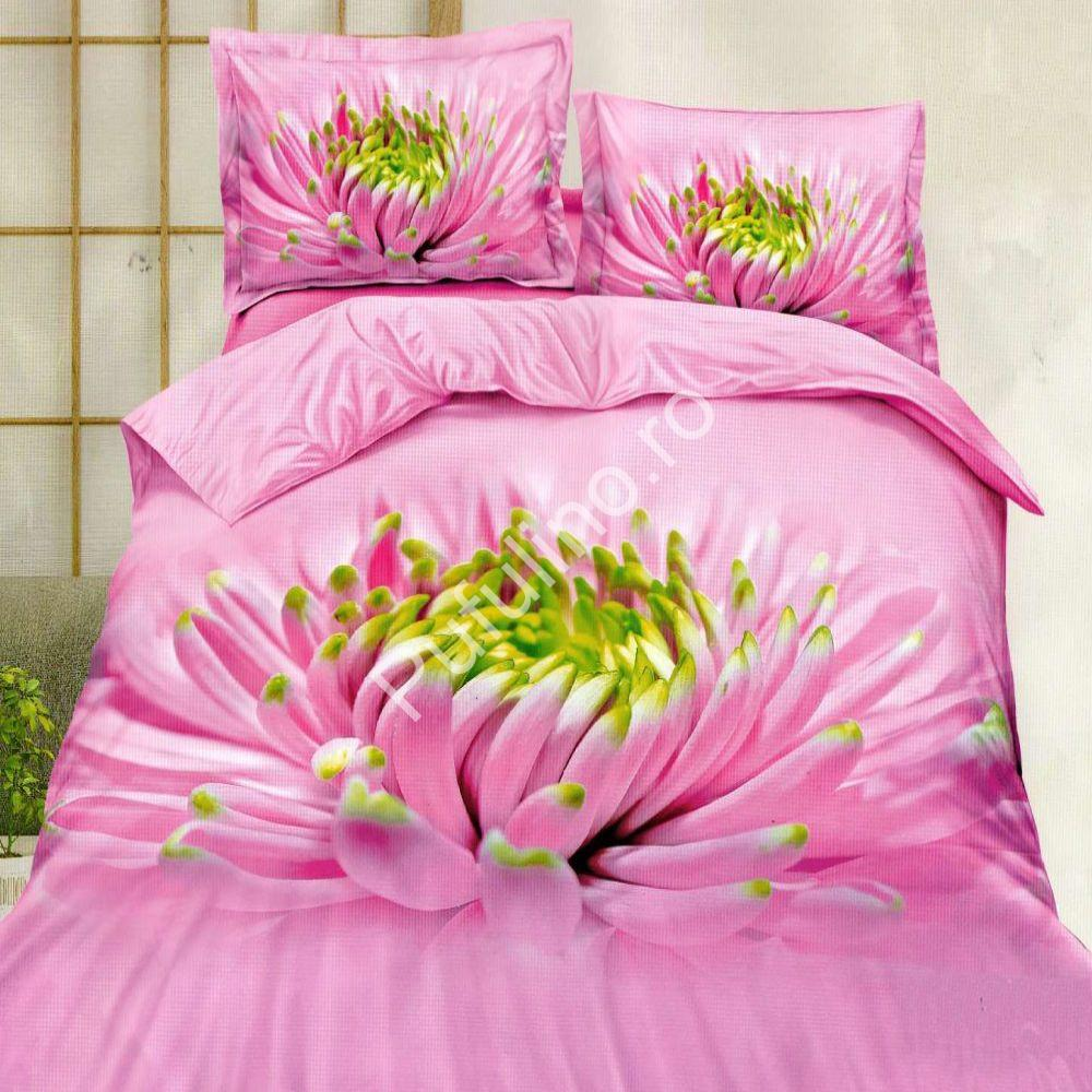 lenjerie de pat 5d roz din bumbac satinat