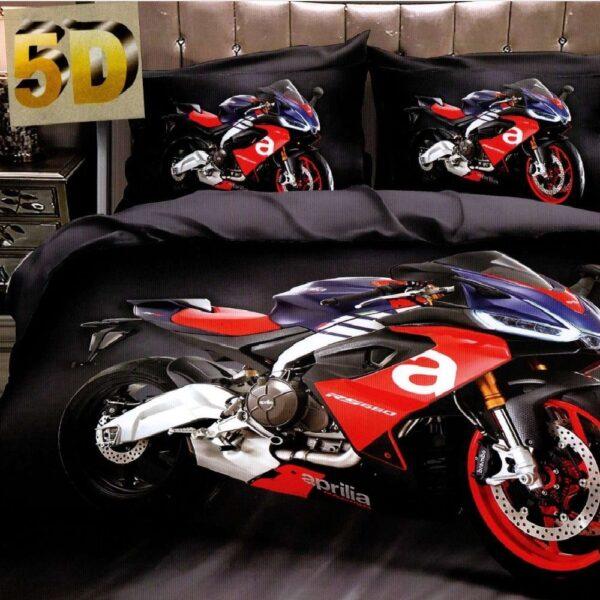 lenjerie de pat bumbac satinat cu motocicleta