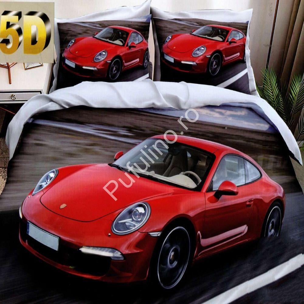 lenjerie de pat cu masinute din bumbac satinat