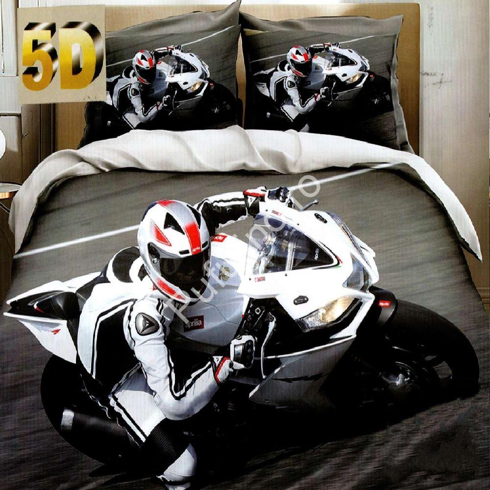 lenjerie de pat bumbac satinat cu motocicleta 5d