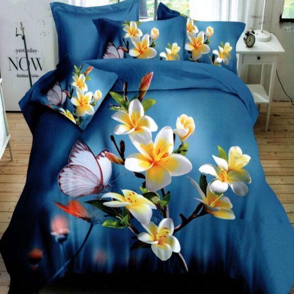 lenjerie bumbac satinat albastra cu flori 5d