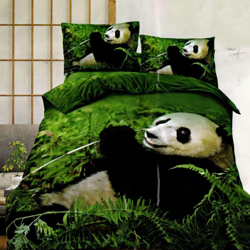 lenjerie de pat verde din bumbac satinat cu ursuleti panda