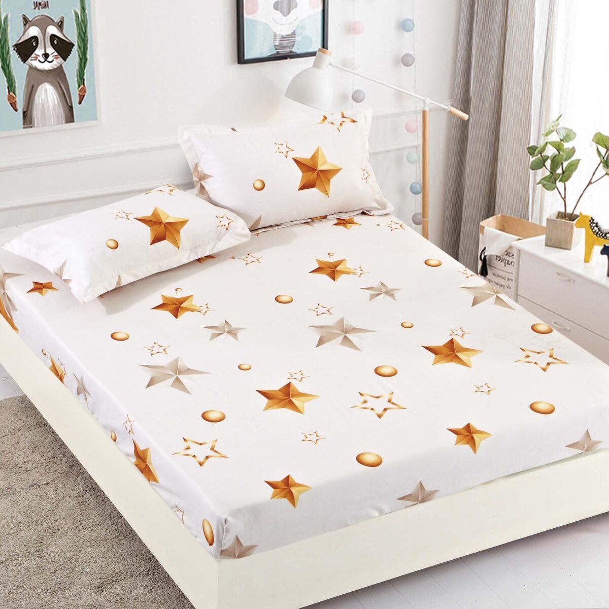 Husa de pat alba cu stelute galbene