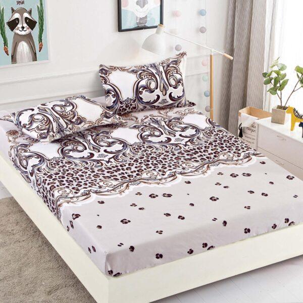 Husa de pat cu elastic alba cu model abstract