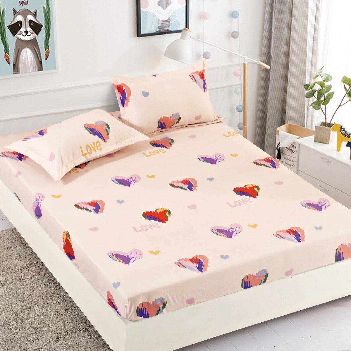 Husa de pat cu elastic portocalie cu inimi