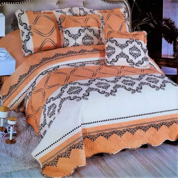 cuvertura de pat alba cu portocaliu