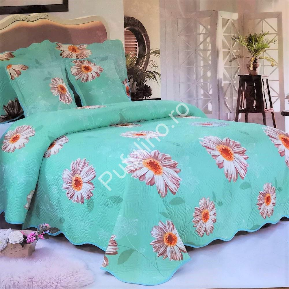 cuvertura de pat verde cuflori