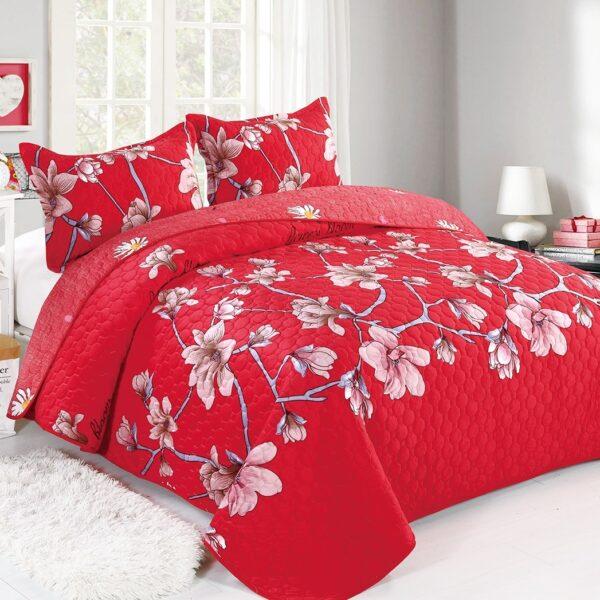 cuvertura din catifea rosie cu flori de magnolie