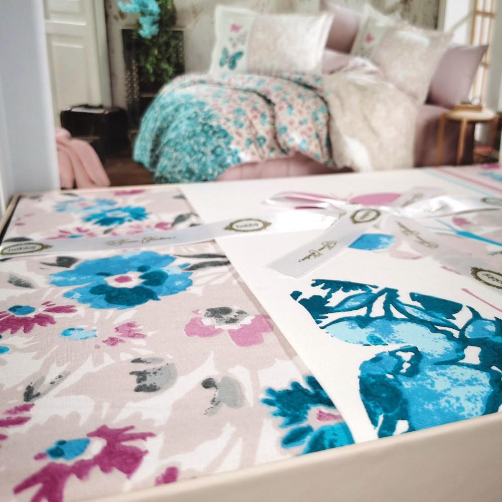lenjerie de pat din bumbac 100% hobby felicita turcoaz