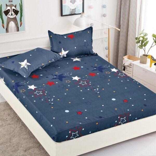 husa de pat din finet albastra cu stelute