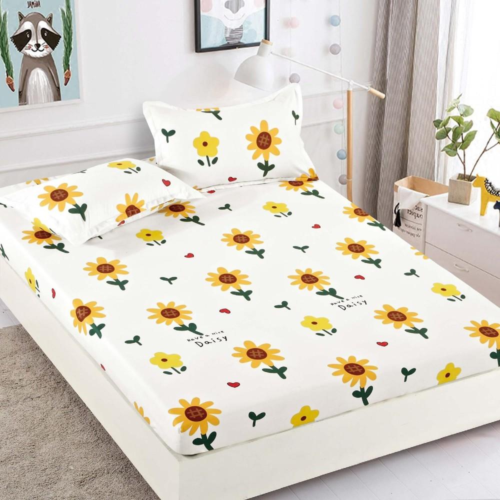 husa de pat din finet cu floarea soarelui
