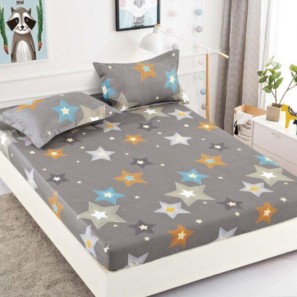 husa de pat din finet gri cu stelute