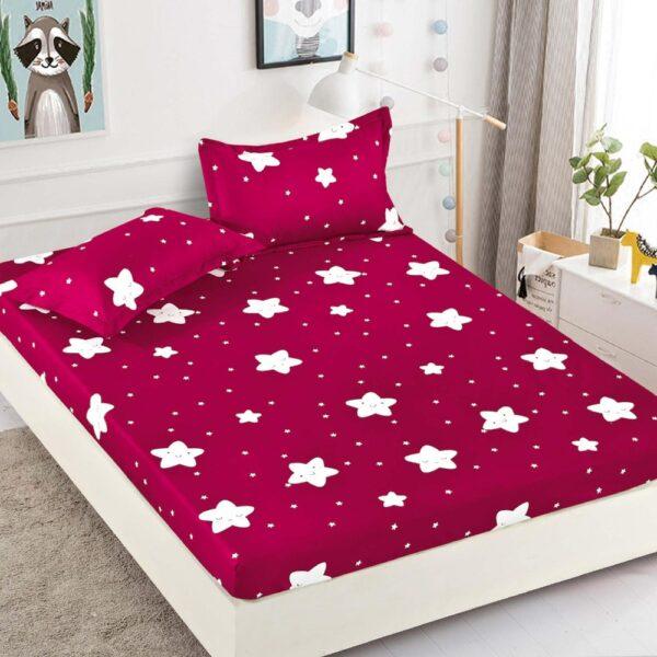 husa de pat din finet rosie cu stelute