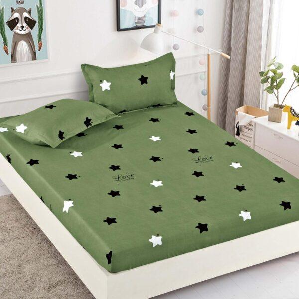 husa de pat din finet verde cu stelute