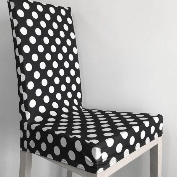 husa de scaun neagra cu buline