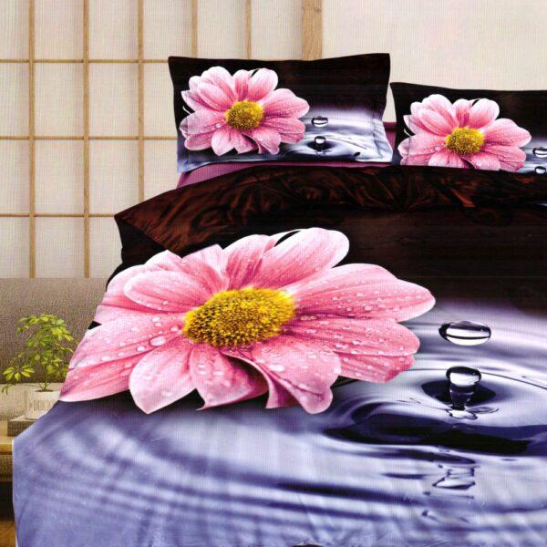 lenjerie bumbac satinat cu floare roz