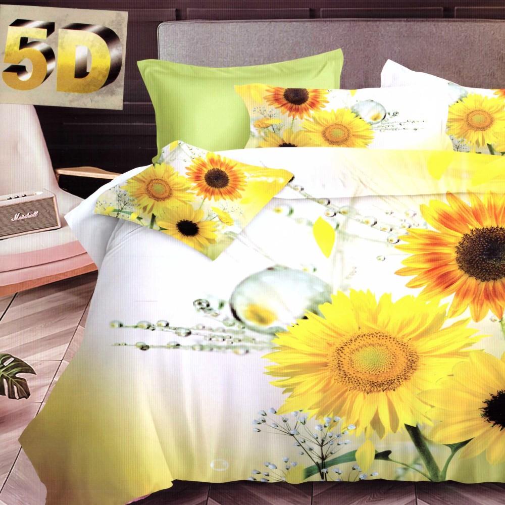 lenjerie bumbac satinat model cu flori galbene