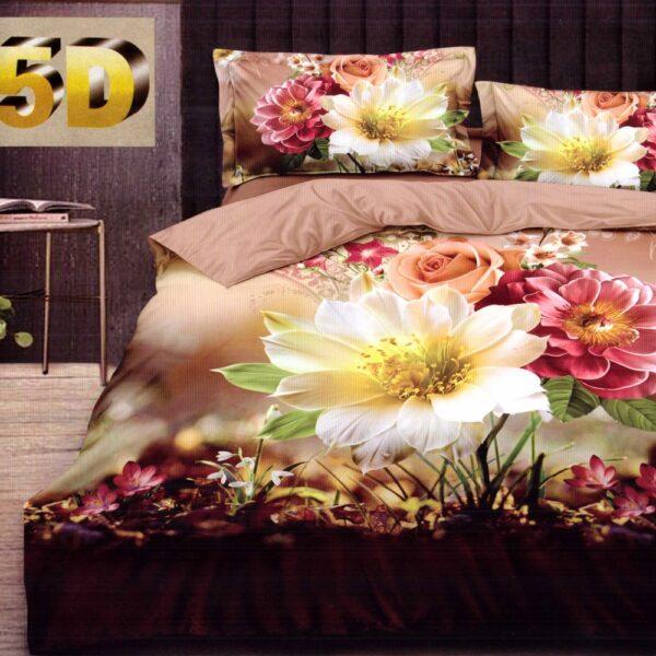 lenjerie bumbac satinat model cu flori multicolore