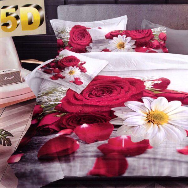 lenjerie bumbac satinat model cu flori rosii