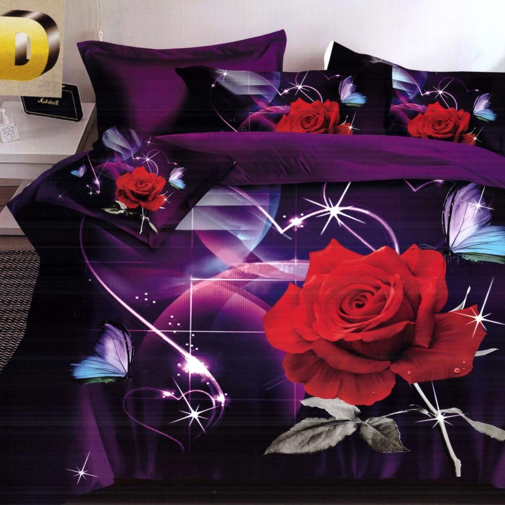 lenjerie bumbac satinat model cu trandafiri rosii