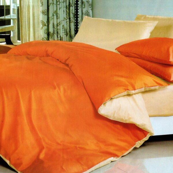 lenjerie bumbac satinat uni portocaliu - crem