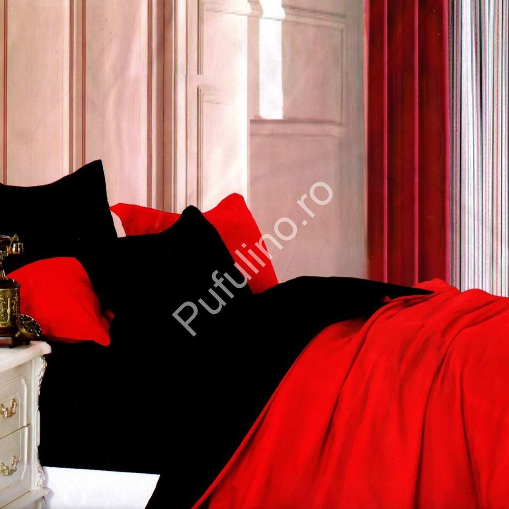 lenjerie bumbac satinat uni rosu-negru