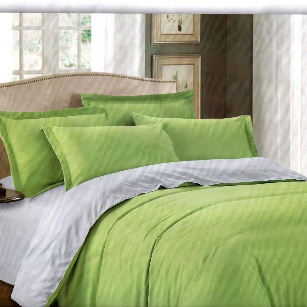lenjerie bumbac satinat uni verde-gri