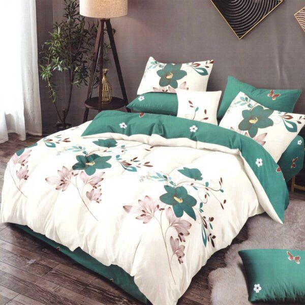 lenjerie de pat finet alba cu flori verzi