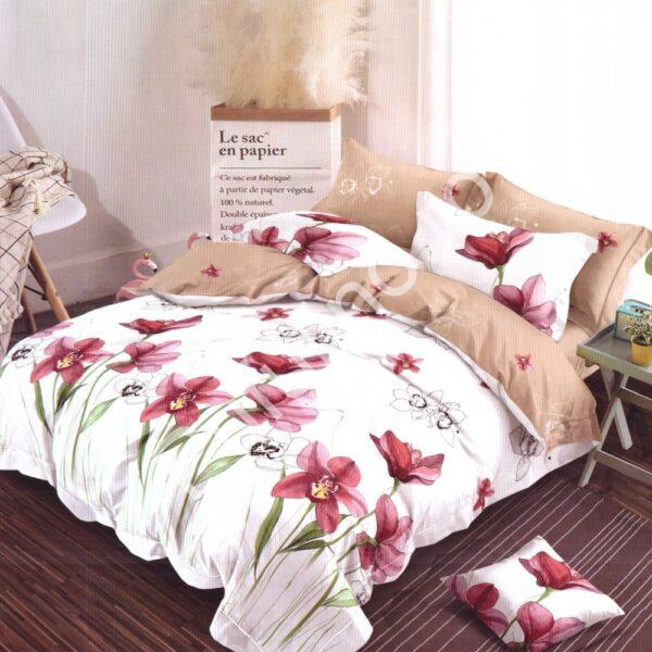 lenjerie de pat finet crem cu flori rosii