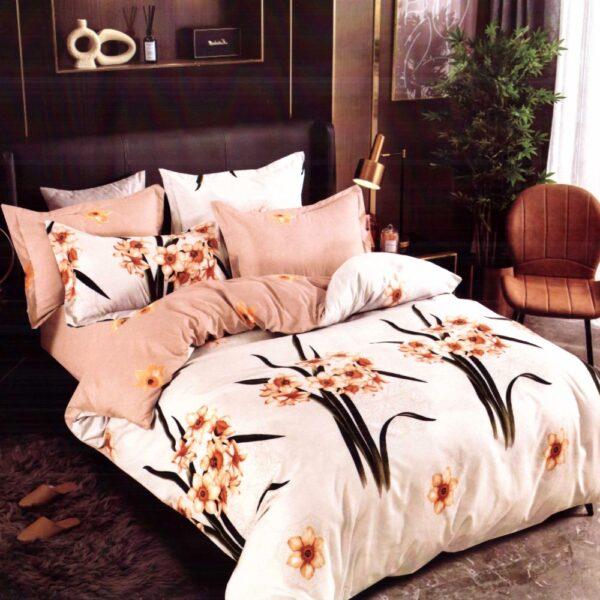 lenjerie de pat finet crem cu floricele